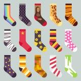 De textiel kleurrijke vectorreeks van kind warme sokken vector illustratie