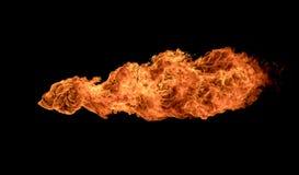 De texturen van brandvlammen op zwarte achtergrond Stock Foto