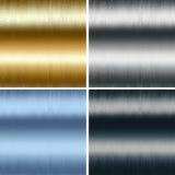 De textureninzameling van het metaal, gouden zilveren blauwe zwarte Royalty-vrije Stock Fotografie