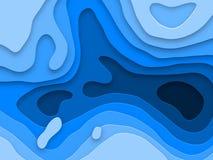 De textuur blauwe achtergrond van Papercut sneed de multilagen van 3D document vectoreffect Stock Afbeeldingen