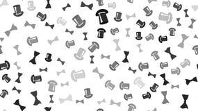 De textuur is een naadloos patroon met mooie vrolijke feestelijke heldere gekleurde zwarte goede bogenvlinderdassen en magische h stock illustratie