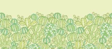 De textuur horizontaal naadloos patroon van cactusinstallaties Stock Fotografie