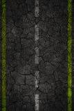 De textuur van de barstweg met twee strepen Royalty-vrije Stock Afbeelding