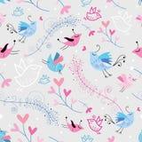 De textuur van de bloem met vogels Stock Afbeelding