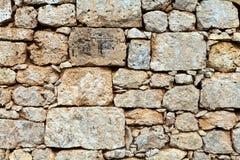 De textuur van de kalksteenbakstenen muur Royalty-vrije Stock Foto