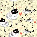 De textuur van de katten en de vissen Royalty-vrije Stock Afbeeldingen