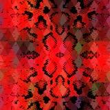 De textuur van de slanghuid met gekleurde ruit Geometrische Achtergrond Naadloze patroon zwarte rode achtergrond, kleurrijke psyc vector illustratie