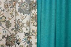 De textuur van de stof en de gordijnen Stock Fotografie