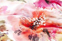 De textuur van de stof met rode bloem Royalty-vrije Stock Afbeeldingen