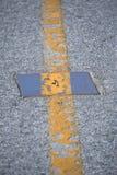 De textuur van de weg met lijn Stock Foto