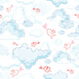 De textuur van de wolken en de vogels in liefde Royalty-vrije Stock Fotografie