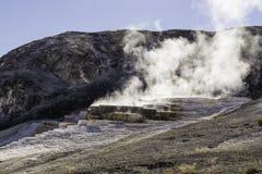 De Textuur van de Yellowstonerots en Thermische Activiteit Stock Afbeeldingen