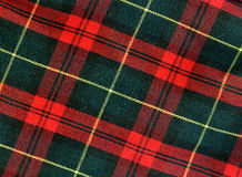 De textuur van het geruite Schotse wollen stof Stock Foto's