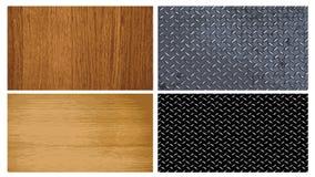 De textuur van het hout en van het metaal Stock Afbeeldingen