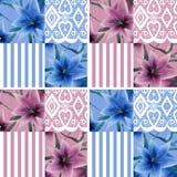 De textuur van het lapwerk naadloze bloemen lilly patroon strook als achtergrond stock illustratie