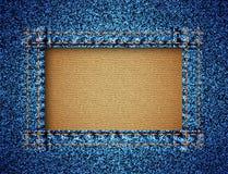 De textuur van jeans met frame Stock Foto's