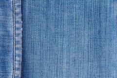 De textuur van jeans met naad Stock Foto