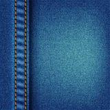 De textuur van jeans met steek Stock Fotografie