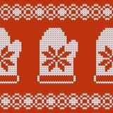 De textuur van Jersey van het Kerstmisontwerp met vuisthandschoenen Stock Fotografie