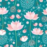 De textuur van lotusbloembloemen en vogels stock illustratie