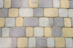 De textuur van metselwerk voetbrug Gekleurde stenen Stock Foto