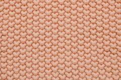 De textuur van roze grote wol breit Hoogste mening royalty-vrije stock afbeelding