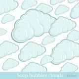 de textuur van zeepbelswolken op wit Stock Foto