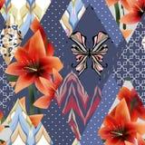 De textuurachtergrond van het lapwerk naadloze bloemen lilly patroon met stock illustratie