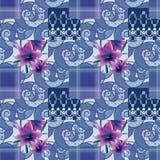 De textuurachtergrond van het lapwerk naadloze bloemen lilly patroon met Stock Fotografie