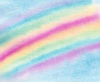 De textuurachtergrond van de waterverfhand getrokken regenboog royalty-vrije illustratie