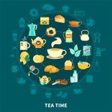 De thé en temps composition en rond illustration de vecteur