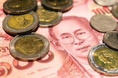 De thailändska pengarna och myntet Royaltyfri Foto