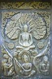 De Thaise antiquiteit van het muurbeeldhouwwerk stock afbeelding