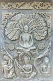 De Thaise antiquiteit van het muurbeeldhouwwerk stock fotografie