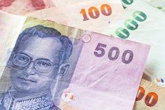De Thaise bankbiljetten van het Bahtgeld Stock Afbeeldingen