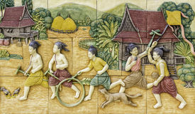 De Thaise gravure van de cultuursteen Royalty-vrije Stock Foto's