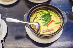 De Thaise groene kerrie van de voedselkip op donkere houten achtergrond Hoogste mening Thais keukenconcept Royalty-vrije Stock Fotografie