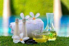De Thaise het kompresballen van de Kuuroordmassage, de kruidenbal en treatment spa, ontspannen en gezonde zorg met bloem dichtbij Stock Foto's