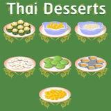 De Thaise illustratie van de de kokosnoten eigengemaakte traditionele smakelijke suiker van de desserts zoete banaan khanom royalty-vrije stock foto