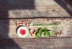 De Thaise Ingrediënten van het Voedsel Stock Afbeeldingen