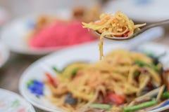 De Thaise keuken van de papajasalade royalty-vrije stock foto