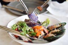 De Thaise kruidige salade van de zeevruchtennoedel Royalty-vrije Stock Afbeeldingen