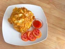 De Thaise omelet van het stijlvarkensvlees stock afbeeldingen