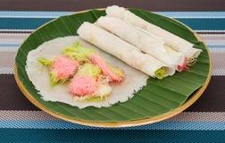 De Thaise pannekoek van gesponnen suikerburrito Stock Afbeeldingen