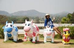 De Thaise reis van vrouwenmensen en het stellen zitten op de pop van de koefamilie Royalty-vrije Stock Foto's