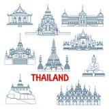 De Thaise reisoriëntatiepunten verdunnen lijnpictogrammen stock illustratie