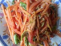 De Thaise Salade van de Papaja Royalty-vrije Stock Afbeeldingen