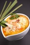 De Thaise Soep van Garnalen met Rijst Stock Foto's
