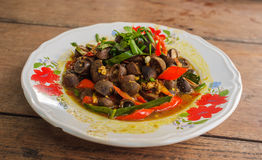 De Thaise Stijl beweegt Fried Mushroom Royalty-vrije Stock Foto's