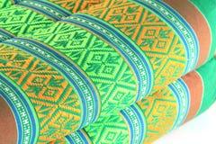 De Thaise stijl van de patroonkunst op katoenen hoofdkussen stock afbeelding